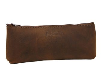 Pen Wallet-Stiftemappe Jules made of leather in brown with zipper-Handmade in Germany
