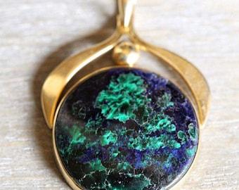 Incredible custom made solid 14kt gold azurite malachite pendant!