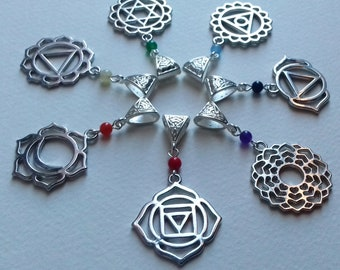 7 in 1 Chakra Necklace Set , Chakras , Yoga Mandala , Meditation Necklace , New Age , Festival , Pagan , Wicca , Handmade Jewellery Gift
