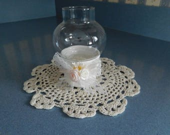 Vintage Two Piece Votive Candle Holder with White Lace Bow