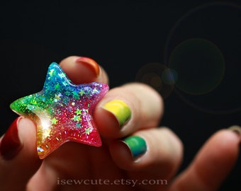 Resin Rainbow Star Ring ...Catch a Falling Star Like Mermaid Treasures ...bright rainbow glitter resin jewelry handmade by isewcute