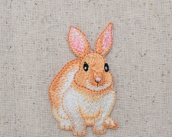 Bunny Rabbit - Hare -  Cream and Tan - Iron on Applique - Embroidered Patch - 1516674-A