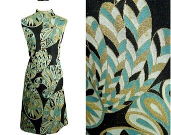Quart de soir art déco VINTAGE des années 1960 turquoise métallisé doré à paillettes robe 14 Uk Fr 42 / Mod / aileron / Cocktail Party