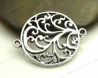 6 Floral Connectors Flat Round 24mm - Antique Silver Tone Metal - 2 Loop Links - BC35