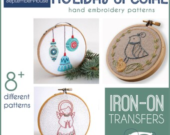 Embroidery Patterns Holiday Special Iron On transfers for hand embroidery, Holiday Embroidery, Christmas Patterns Modern embroidery patterns