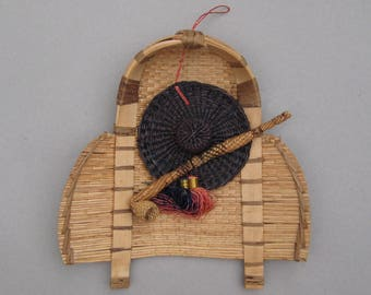 South American Wall Hanging with Woven Straw Hat Pipe Tassels 1970s Boho Decor Wall Basket