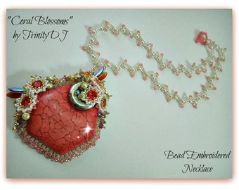 TN-030-2016-131 - Coral Blossoms - Bead embroidered necklace, bead embroidery, beaded necklace, crystal necklace, pearl necklace,