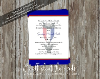 Eagle Scout Court of Honor Invitations - Honorable Scout blue/white design-Digital file