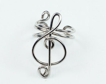 Silver Ear Cuff - Small Treble Clef