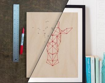 DIY Geometric Giraffe Dot 2 Dot Artwork, Geometric Artwork, Geometric Animal, Laser Etched, Connect the Dots