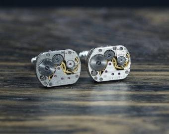 Steampunk cufflinks , steel cuff links, gears cuff links, wedding cuff links,  watch accessory, dad cuff links,