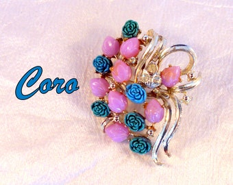 CORO Brooch Pin With Carved Lucite Flowers in Turquoise and Pink Rhinestone Accents In Silver Tone Gift For Her
