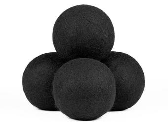 Natural Wool Dryer Balls - Black, 100% Wool, Natural Vegetable-Based Dyes, Chemical-Free, Multiple Pack Sizes Available