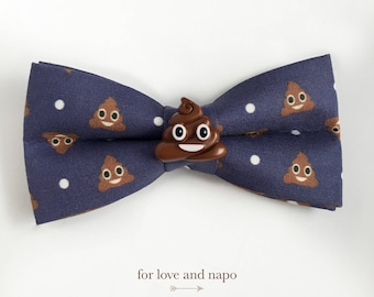 happy poop emoji polka dot bow tie for dogs and cats