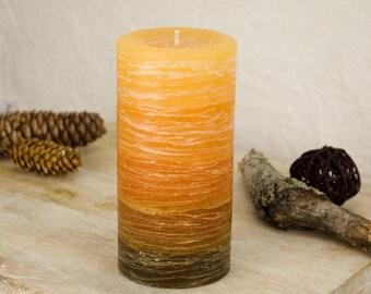 "Orange and Brown Candle - Rustic Striped - 3 x 6"" - Layered Pillar Candle - Bohemian Decor"