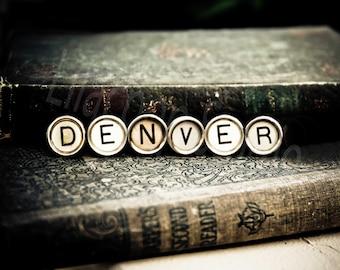 DENVER Vintage Typewriter Keys Fine Art Photographic Print on Metallic Paper
