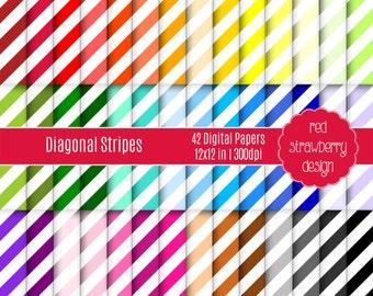 75% OFF Sale - 42 Digital Papers - Diagonal Stripes - Instant Download - JPG 12x12 (DP131)