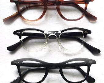 SRO NOS 50's 60's Hornrim Eyeglasses Eyewear Frames Back Thennish Vintage Retro Focus Eyewear Black Tortoise Clear