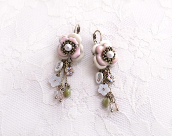 Art Nuveau Enamel Flower Rhinestone Earrings Wedding Bridesmaid Dangle Jewelry Pearl Flapper Shabby Chic Gift Her Formal