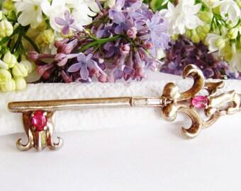 Large Sterling Antique Key Brooch Pink Stone