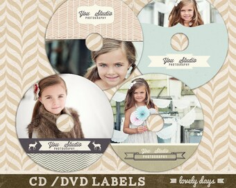 cd/dvd Label Set For Photographers Template 8 options to use with and without Photos INSTANT DOWNLOAD