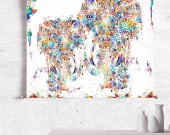 Elephant Wall Tapestry, Abstract Canvas Art, Abstract Canvas Painting, Canvas Print, Abstract Painting Original, Large Abstract Art Print,