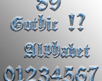 Gothic Alphabet Clipart: Glitter Alphabet Clip Art, Blue Glitter Letters, Gothic Font, Blue Alphabet Letters, Blue Glitter Numbers