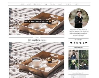 "Blogger Template ""Lushy Love"" Responsive Premade Blog Theme // Simple Modern Black White Instant Download"