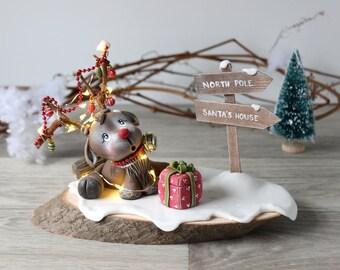 Rudolph the red nosed reindeer, Christmas figure decoration, Deer christmas decor, Christmas light figurine, Deer figurine,