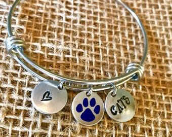 University of KY Jewelry, Kentucky Bangle, Kentucky Jewelry, KY Bangle, Kentucky Bracelet, Hand Stamped KY Jewelry, Cats