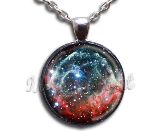 Thor's Helmet Nebula Glass Dome Pendant or with Chain Link Necklace SM141