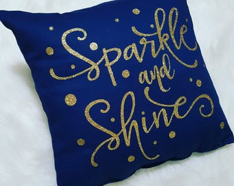 Sparkle and Shine Navy Pillow