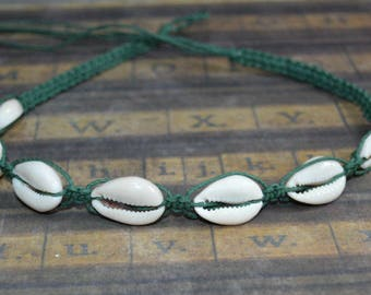 Hemp Necklace with Cowrie Shells Sage Green Colors