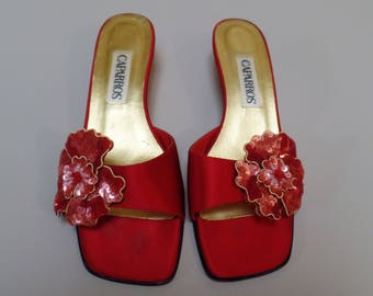 Caparros Red Satin Slides Open Toed Pumps or Heels with Decorative Sequinned Flowers