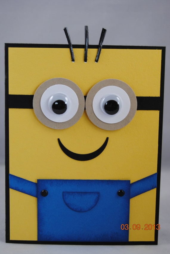 Handcrafted yellow minion birthday card bookmarktalkfo Image collections