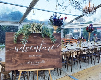 Custom Handpainted Wooden Welcome Wedding Sign, Our Adventure Begins Here Signage Wedding Reception Decor Props