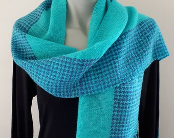 Wool and silk hand spun, hand woven,  scarf, houndstooth