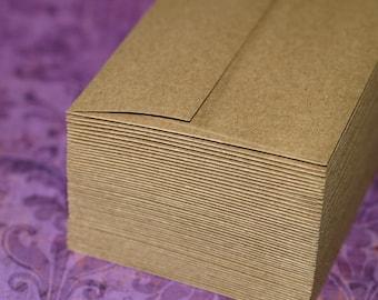 Kraft Envelopes (50) ... A1 4 Bar Envelopes Grocery Bag Brown Chipboard Cards Stationery Set Euro or Straight Flap Mailing Envelopes