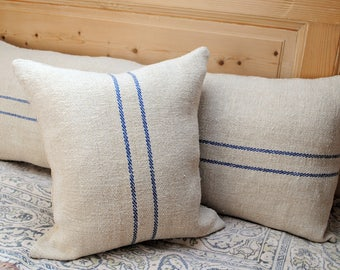 Authentic Grain Sack Pillow Cover / Antique linen / Handwoven hemp fabric / Blue Stripes/Handmade Pillow Sham / Coastal
