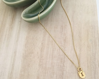 "Golden ""padlock"" necklace-Silver 925"