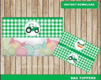 Tractor bags toppers; printable Green Tractor treat bags toppers, Tractor party toppers instant download