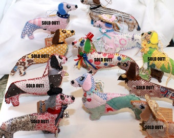 A Dollop of Doxies - Dachshund Doggy Quilty Critters, buyers choice - Folk Art, OOAK, Ornament, Novelty
