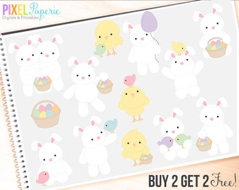 easter clipart bunny bunnies chicks clip art eggs digital - Easter Friends Digital Clipart - BUY 2 GET 2 FREE