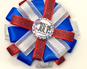 4th of July - Red White Blue - USA - Hair Bow Clip