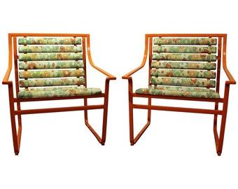 Mid-Century Modern Outdoor Chairs Atomic Orange Samsonite Outdoor Scoop Seat Arm Chairs-PAIR