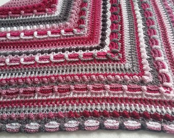 Crocheted ' lost in time ' shawl, pink