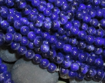 "8mm Dark Blue ""Jaspertone"" Beads- Opaque glass beads with a mottled, marbled surface- Full 15 inch strand"