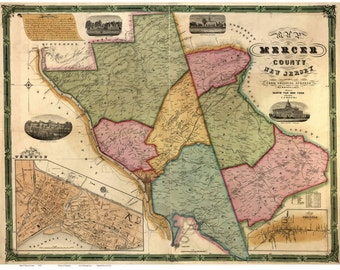 Mercer County  New Jersey 1849 Wall Map  - Reprint with Homeowner Names