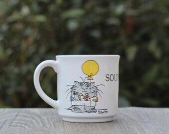 Vintage Sandra Boynton Southpaw Mug / Southpaw Gift / Boynton Balloon Mug / Lefty Gift / Sandra Boynton Novelty Mug / Boynton Mug /