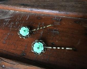 Green Rose Bobby Pin Pair